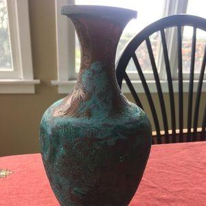 Antique copper distressed vase